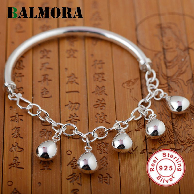 BALMORA Genuine 925 Sterling Silver Jewelry Simple Fashion Bracelets Bangles for Women Lover Party Gift Accessories SZ0097 fashion 2 size pure tungsten steel hematite couple bracelets bangles for women jewelry mens silver color bracelets for lover s