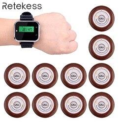 Система вызова для ресторана беспроводной Вызов официанта пейджер 1 шт. часы приемник + 10 вызова Передатчик Кнопка F3300