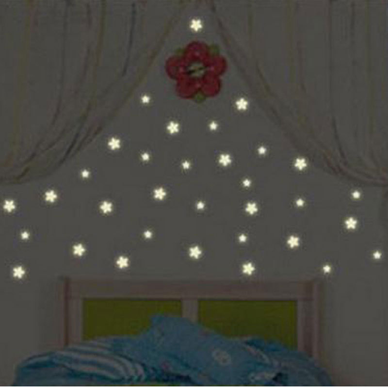 100pc Kids Baby Bedroom Wall Sticker Star Fluorescent Glow