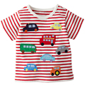 Summer Infant Short Sleeve Striped T-shirt Cute Cartoon Car Embroidery Clothes Baby Boys Girls Children Kids Toddler Clothing