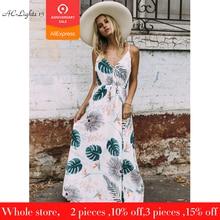 588fcc0a38 Boho kobiet liście sukienka w dużym rozmiarze lato długa sukienka wieczór  Party suknie plażowe Sundress kobiety