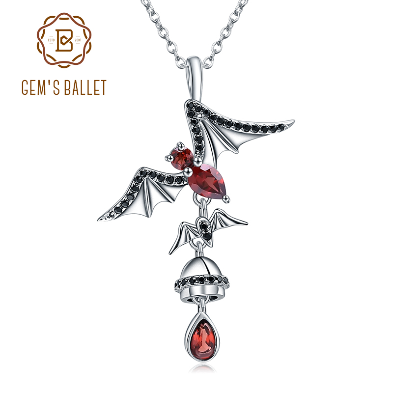 GEMS BALLET 925 Sterling Sliver Bat Shape Natural Garnet 