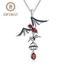 GEMS BALLET 925 Sterling Sliver Bat Shape Natural Garnet Gemstone Vintage Gothic Punk Pendant Necklace For Women Party Jewelry