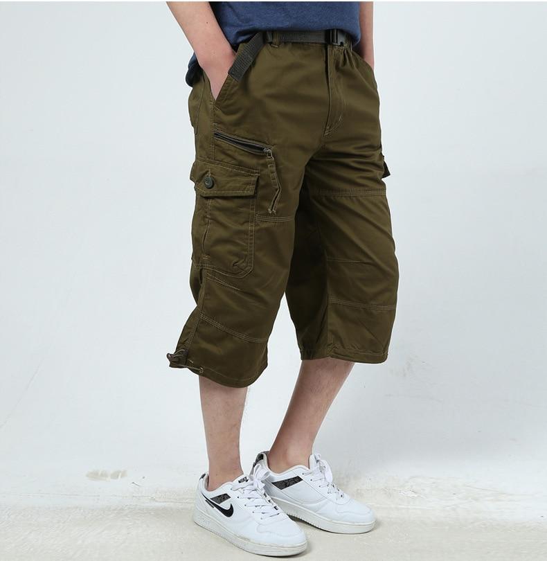 2018 Mens Cargo Shorts Combat Plus Big Size Capris 4XL 5XL Man Long Army Green Baggy Short Male Army Green Dark Green