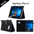 Surface Pro 4 Stand Leather Case For Microsoft Windows surface pro 4 12.3'' Tablet Case with card slot and hand holer