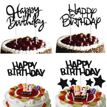 Banderas para pastel de Feliz Cumpleaños de Color negro con estrellas, decoración de purpurina para fiesta de cumpleaños, suministros de decoración de pastelería DIY