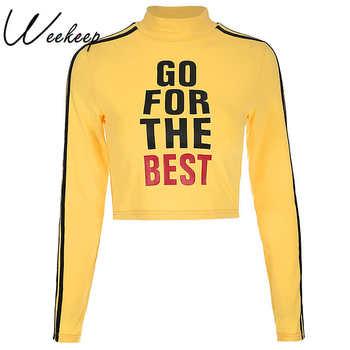 Weekeep Women Yellow Cropped Stripped Hoodies Cropped Long Sleeve Turtleneck Pullover Sweatshirt Fashion Streetwear Crop Top women Sweatshirts & Women Hoodies