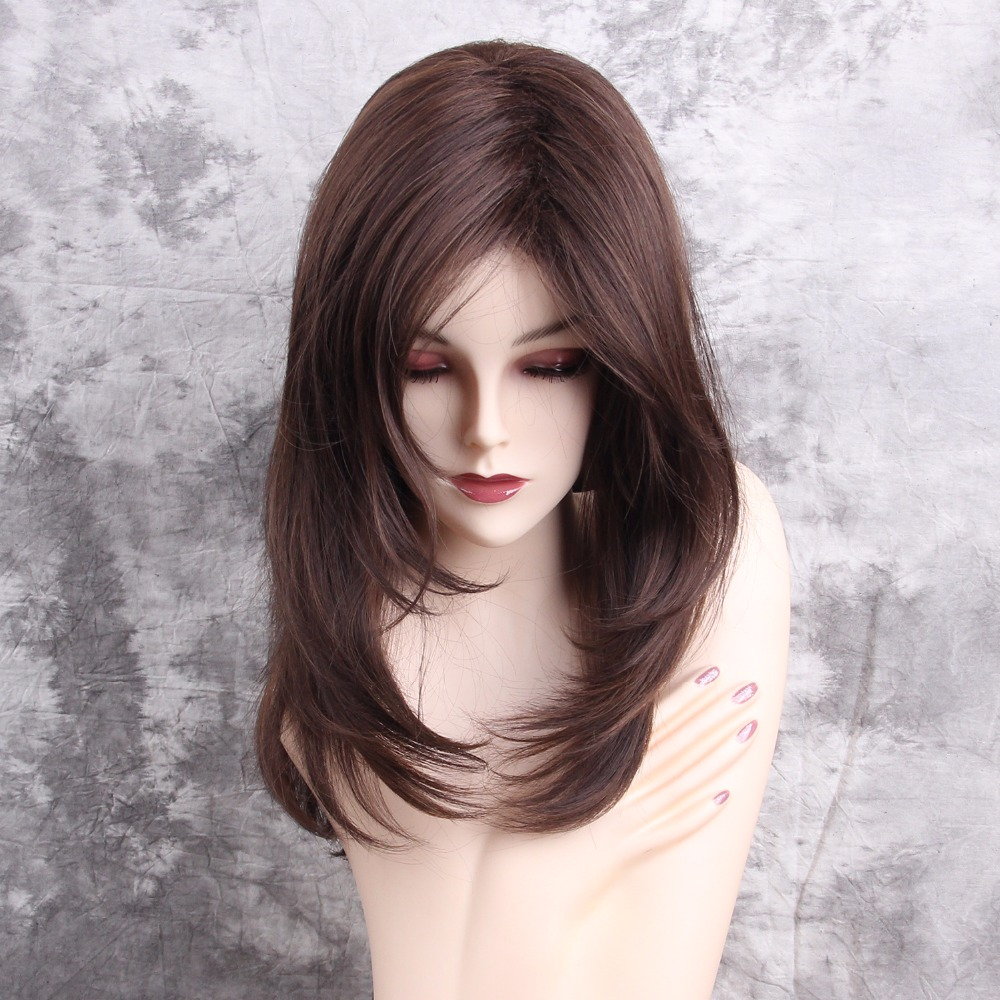 Esin Elegent Full Wigs Ladies Party Daily Natural Wave Dark Brown Natural Dress Synthetic Side Part None Lace Wigs Free Shipping