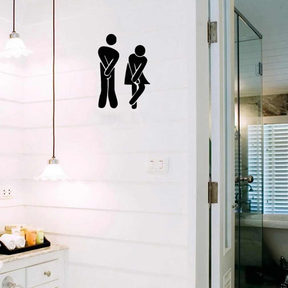 Komik tuvalet giriş işareti çıkartması vinil yapışkan dükkan için ofis ev Cafe el tuvalet banyo duvar kapı dekorasyon