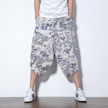 Summer Harem low crotch shorts Chinese national style casual shorts fashion loose Ink printed bermuda masculina Cropped Trousers
