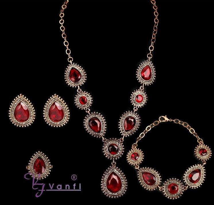 2018 breloques bijoux indiens mélangé coloré pierre cristal Antique couleur or collier et boucles d'oreilles et bagues et Bracelet ensembles de bijoux de mariage