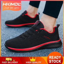 HKIMDL Men Sneakers Breathable Casual Shoes White Mesh Lightweight Flats 38~45 Big Size 2019 Spring Red Lace Up