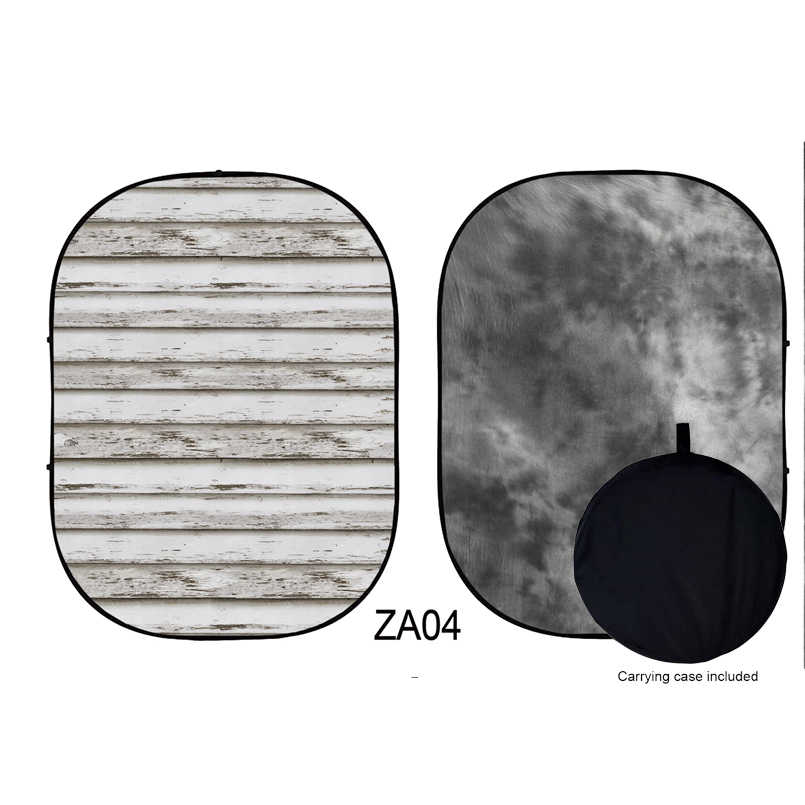 Mehofoto Double-Sided Pop-Out Muslin Backdrop Collapsible Black and White Photography Backdrops 5x6.5ft Reversible Photo Background for Photographers Carrying Case Included