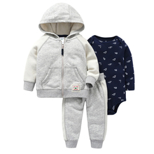 Kids Baby Bebes Boy Clothes Set Hooded Jacket+rompers+pants Infant Boy Girl Clothing Autumn Spring Children Suits Newborn Set недорого
