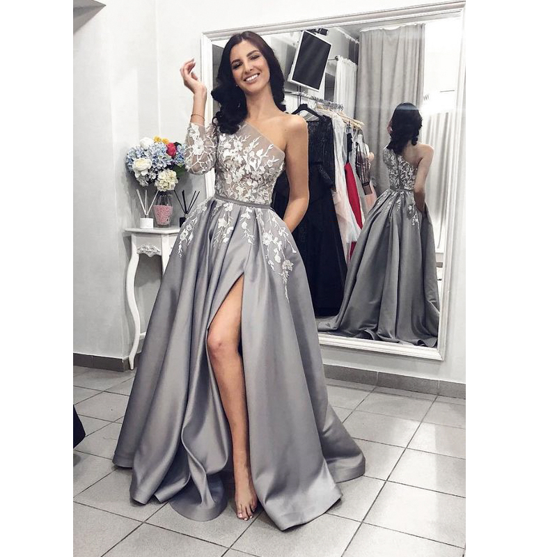 A-Line   Evening     dresses   with slit one shoulder gray satin women patry gown formal prom party   dress   vestidos de fiesta 2019