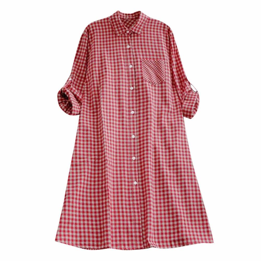 Бесплатная Страусиная Повседневная Женская Плюс Размер Осенняя клетчатая туника на пуговицах с длинным рукавом платье стоячий карман рубашка платье