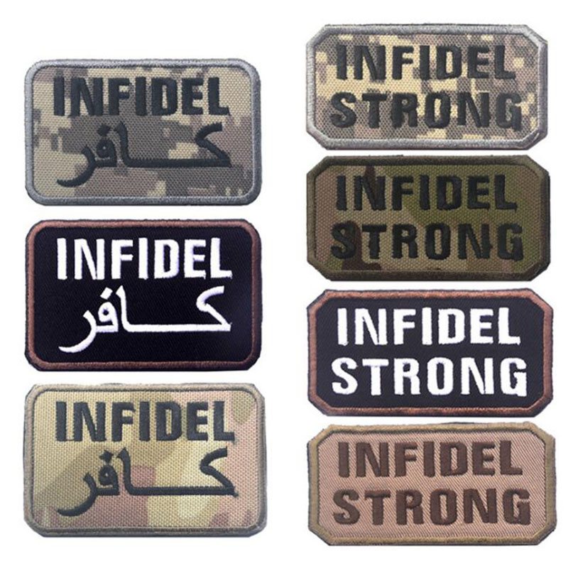 INFIDEL STRONG US ARMY MORALE MILSPEC MILITARY USA ISAF SWAT PATCH