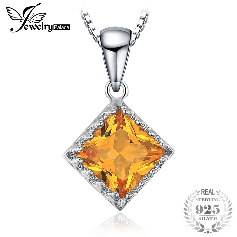 Classic 1.4ct Square Yellow Created Sapphire Solitaire Pendant 925 Sterling Silve Fine Jewelry Not Include a Chain