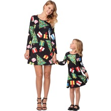 New Family Christmas Dress Cartoon Tree Design O-neck Mother and Daughter Clothes Children Girls Kids Clothing
