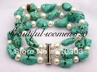 3strands 8 White Freshwater Pearl Nature Turquoise Bangle Bracelet