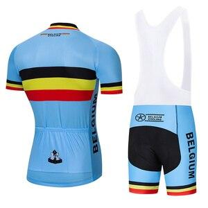 Image 4 - طقم ملابس جيرسي لركوب الدراجات البلجيكية من Crossrider موضة 2020 ملابس دراجة موحدة من نسيج شبكي يسمح بالتهوية ملابس رجالية قصيرة