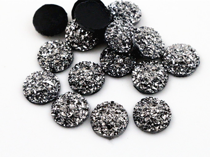 New Fashion 40pcs 12mm Gun Metal Color Flat Back Resin Cabochons Cameo  G5-32