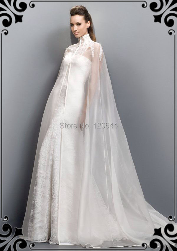 Beautiful Strapless Line Wedding Dresses Elegant Lace Backless Bridal Gowns high colloar Cape Custom Made - SuZhou Kamaliya Love Store store