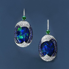 Trendy Temperament Earrings New Blue Round Personality Fashion Retro Exquisite Unisex Holiday Gift Jewelry