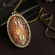 Gold-Color Stone Vintage Cameo Crystal Pendant Necklace for Women Sweater Long Chain Statement Necklaces 76cm Jewelry Z4(China)