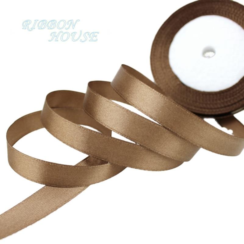 25 ярдов/рулон) атласная лента оптом, подарочная упаковка, рождественские украшения сделай сам, с лентой, с местом для рулон ткани(6/10/12/15/20/25/40 мм - Цвет: Кофе