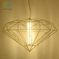 Diamond plating metal cage pendant lamp silver plating Nordic gold birdcage creative hanging lamp for restaurant living room