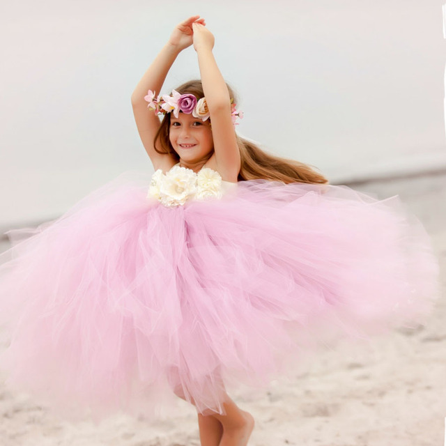 Princess Tutu Dress Flower Girl Tulle Dress Kids Birthday Party Wedding  Bridesmaid Ball Gowns Photo Clothing TS082 1f03f21a974b