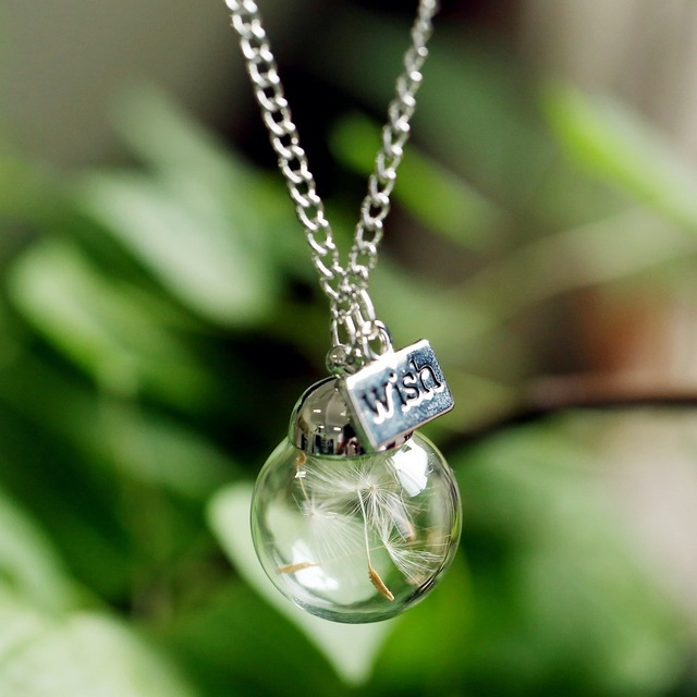 Glass bottle necklace Natural dandelion seed in glass long necklace Make A Wish Glass Bead Orb silver plated Necklace  jewelry