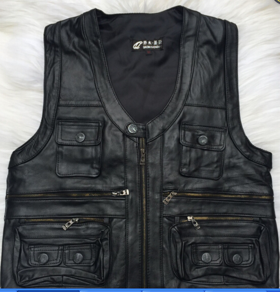 Free shipping 2016 New gentlement genuine leather vest male slim commercial male leather vest sheepskin leather