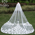 Real Luxury 2T Long Lace Bridal Veils With Comb White/Ivory Cathedral Wedding Veil With Flowers Velos De Novia Largos WB34