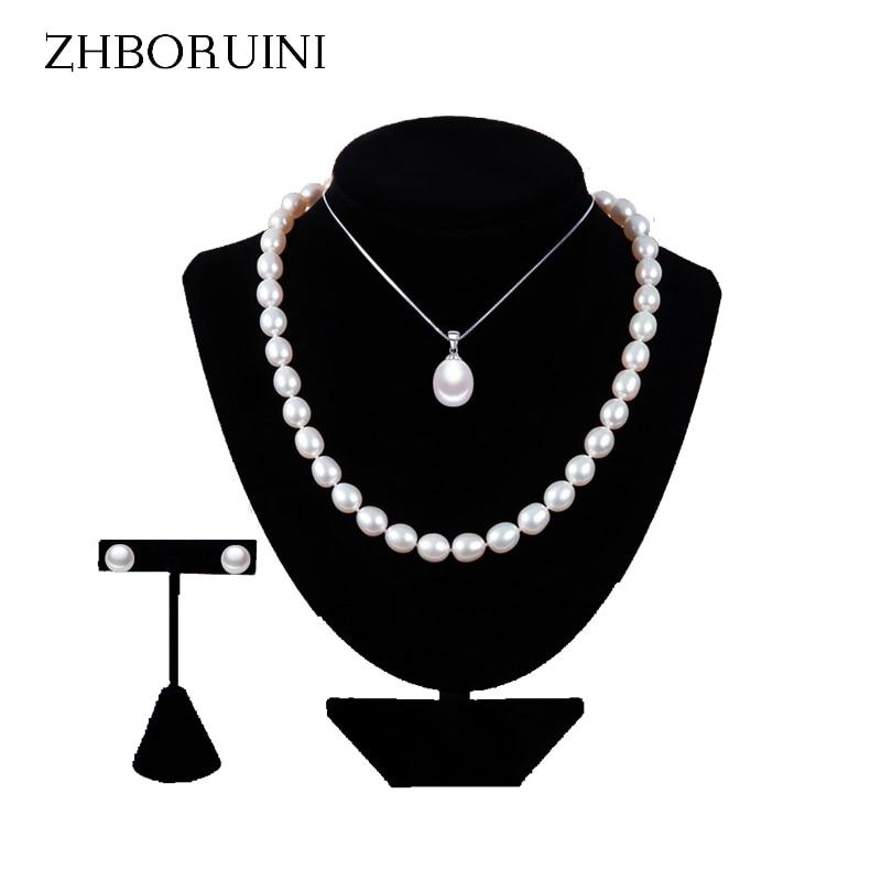 ZHBORUINI 2019 Perlenschmuck Sets Wassertropfen Natürliche Süßwasserperlen halskette ohrringe Armband 925 Sterling Silber Für Frauen