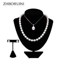 ZHBORUINI 2019 Pearl Jewelry Sets Water Drop Natural Freshwater Pearls necklace earrings Bracelet 925 Sterling Silver For Women