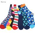 Nuevos Estilos de Los Hombres de colores de algodón peinado calcetines calcetines de regalo de boda (6 par/lote)