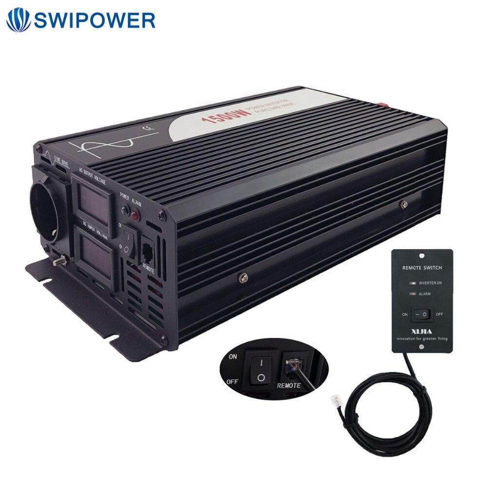 1500 W onde sinusoïdale pure énergie solaire onduleur DC 12 V 24 V 48 V à AC 110 V 220 V avec télécommande