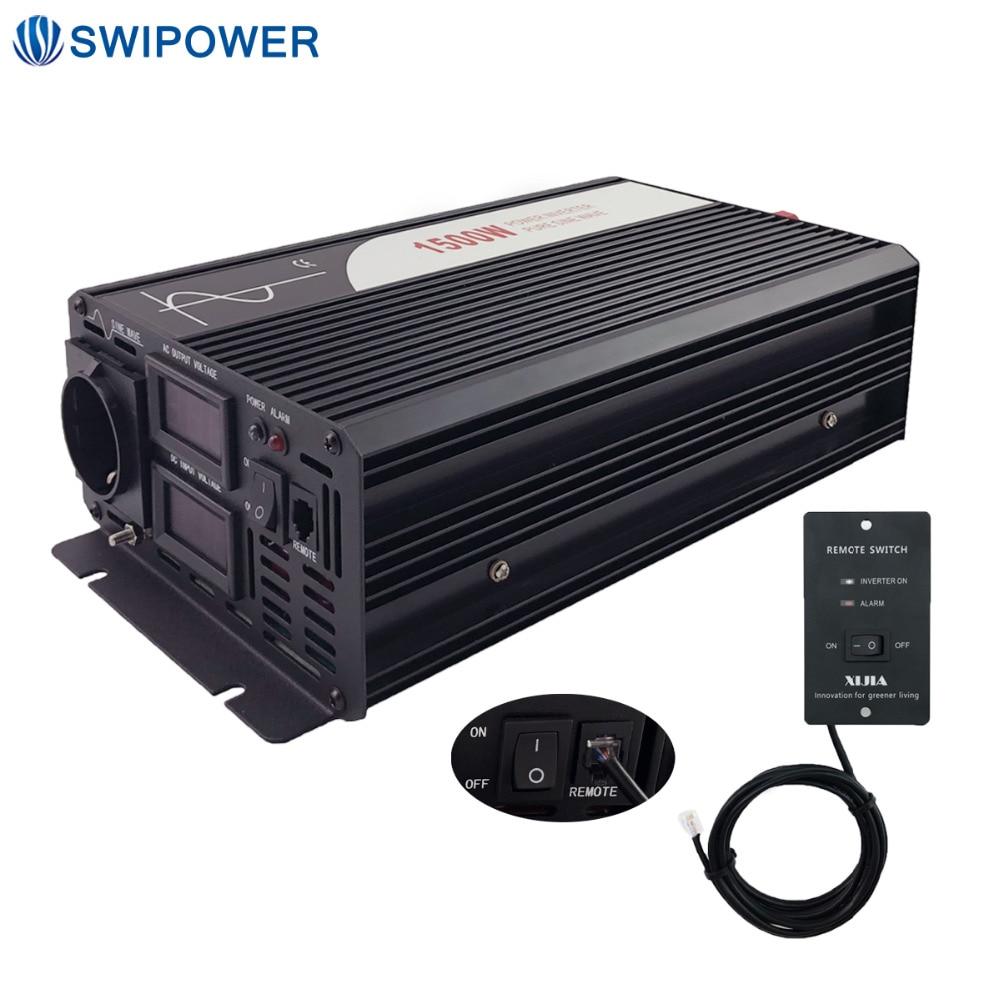 1500W de onda senoidal pura energia solar inversor DC 12V 24V 48V a 110V AC 220V com controle remoto