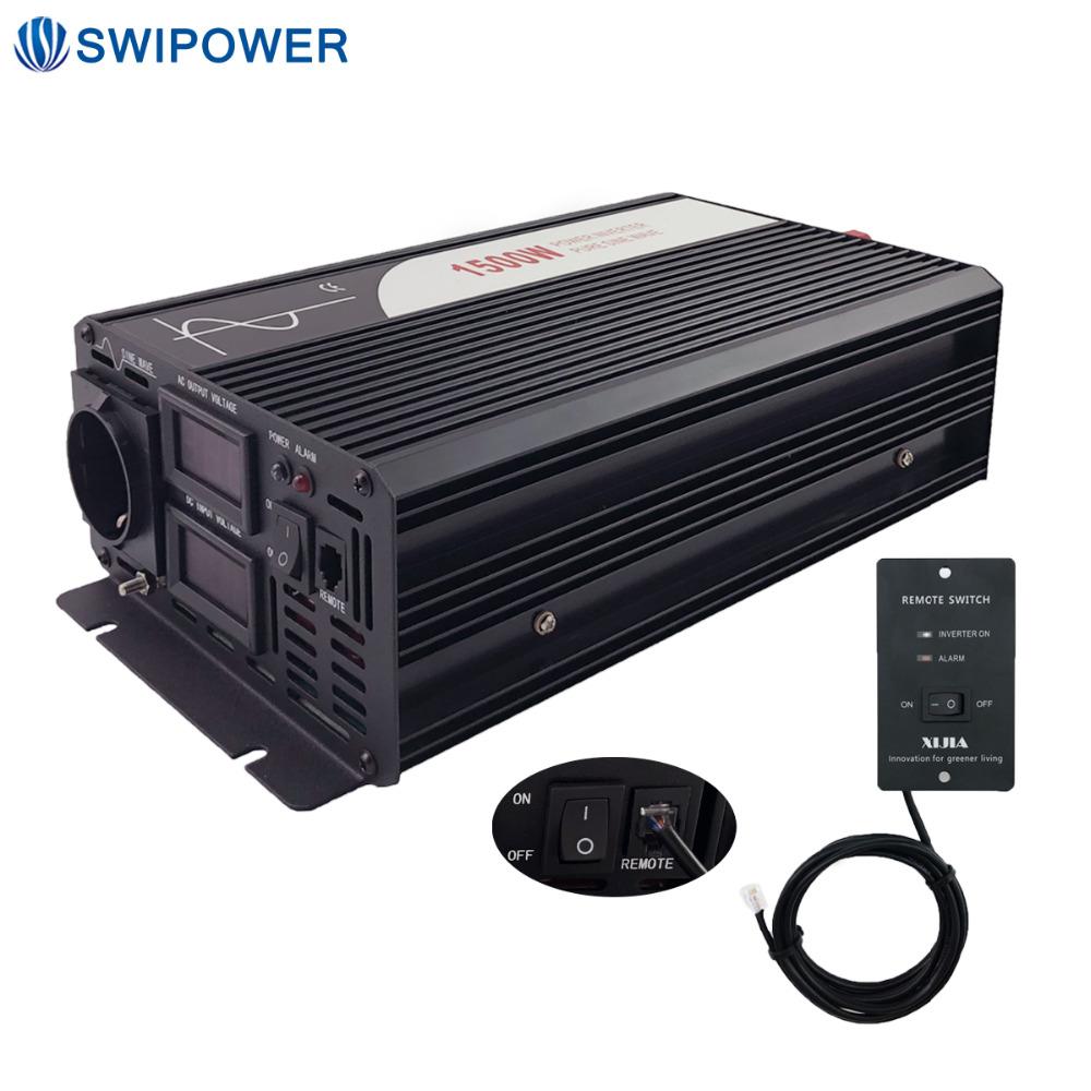 1500W Pure Sine Wave Solar Power Inverter DC 12V 24V 48V  To AC 110V 220V With Remote Control