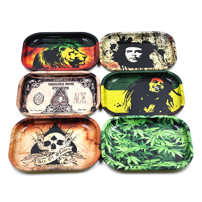 New 1pcs Metal Tobacco Rolling Tray 17cm*13cm*1.8cm Hand roller Rolling Trays Case Machine Tool Smoking Accessories