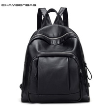 New Fashion Design Simple Casual Backpack Woman Soft Leather Backpacks Teenager Girls Portable School Ladies Mochila N488
