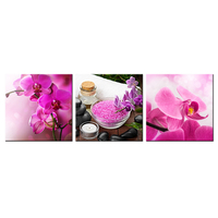 Contemporary Art Spa Stones Zen Stones With Tropical Phalaenopsis Pink Butterfly Orchid Flowers Blooming Decorative Painting