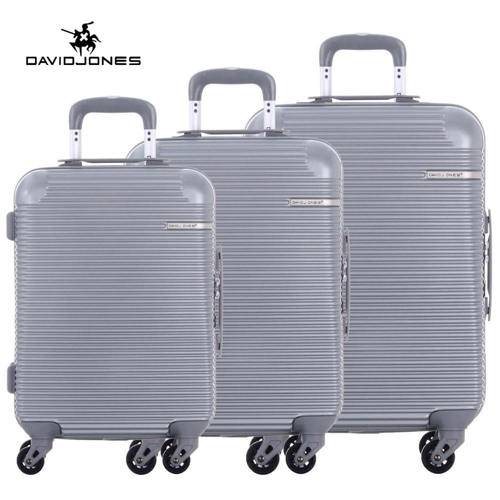 DAVIDJONES 3 piece luggage sets hardside  suitcase with TSA lock & spinner wheels vintage suitcase 20 26 pu leather travel suitcase scratch resistant rolling luggage bags suitcase with tsa lock