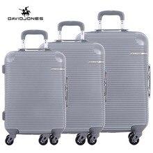 DAVIDJONES 3 piece luggage sets hardside suitcase with TSA lock spinner wheels