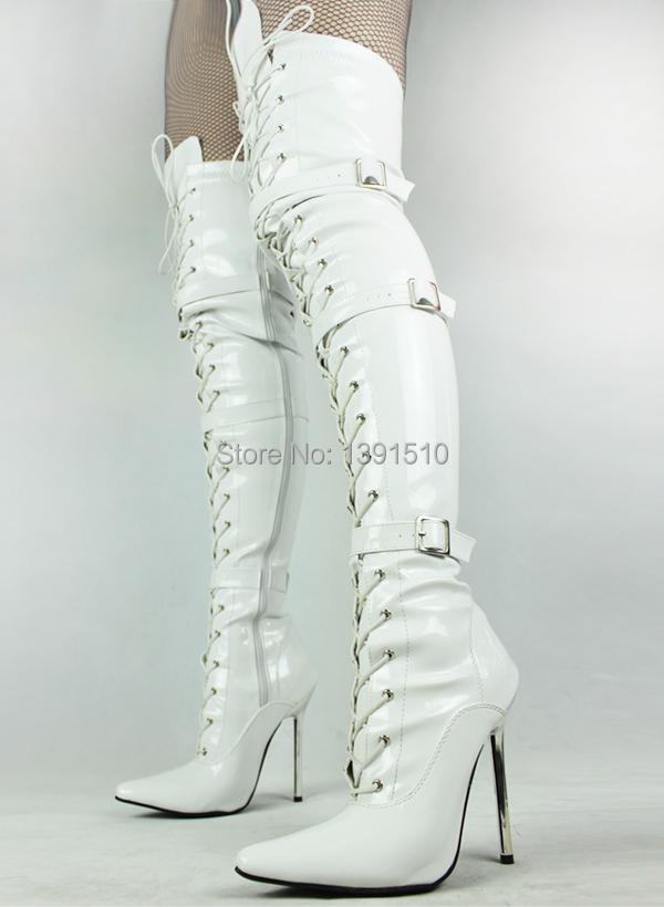 Women's boots autumn spring matt white over the knee sexy boots ...
