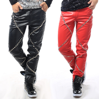 2015 Fashion Male Singer RivetSs slim Leather pants Nigthclub bar singer dj ds costume trousers performance pants