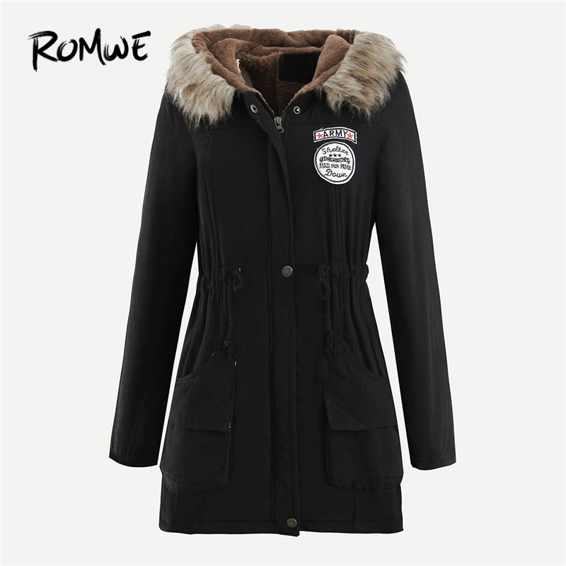 ROMWE Black Patched Faux Fur Collar Hooded   Parkas   Winter Coat Women Casual Womens Fashion 2019 Clothing Long Sleeve Outerwear