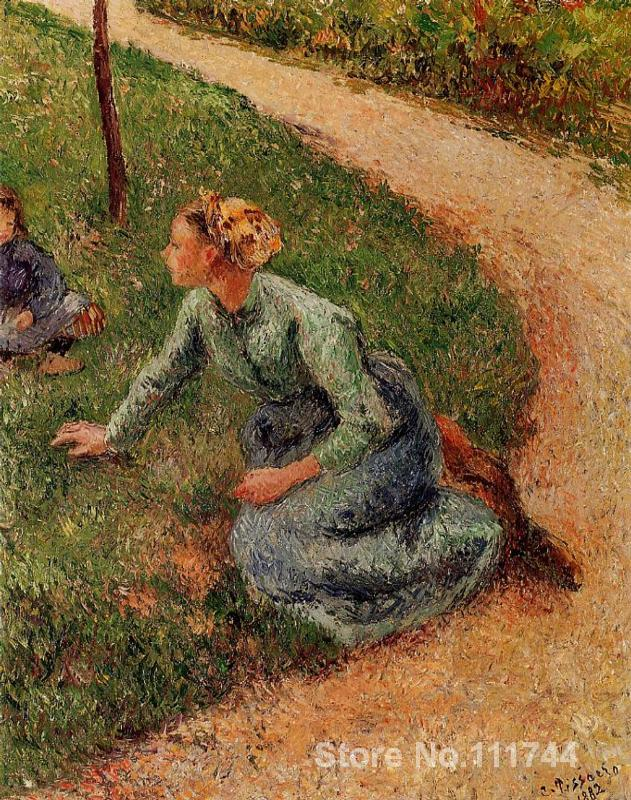 Landscape paintings Peasant Trimming the Lawn by Camille Pissarro canvas art High quality Hand painted